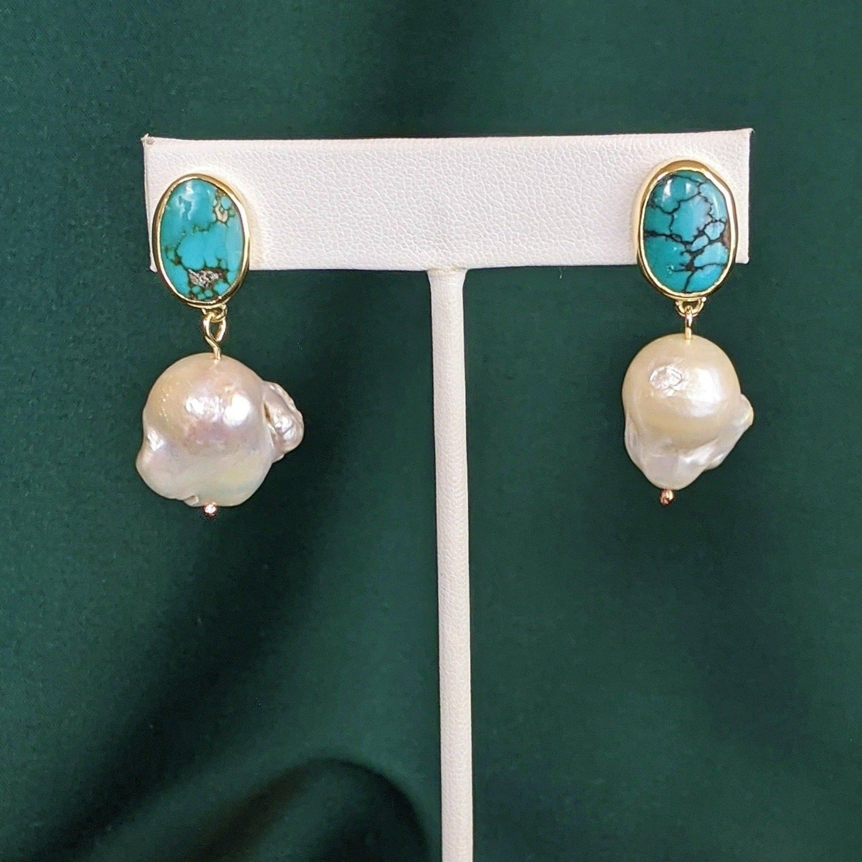 Turquoise and Pearl Brass Drop Earrings 2