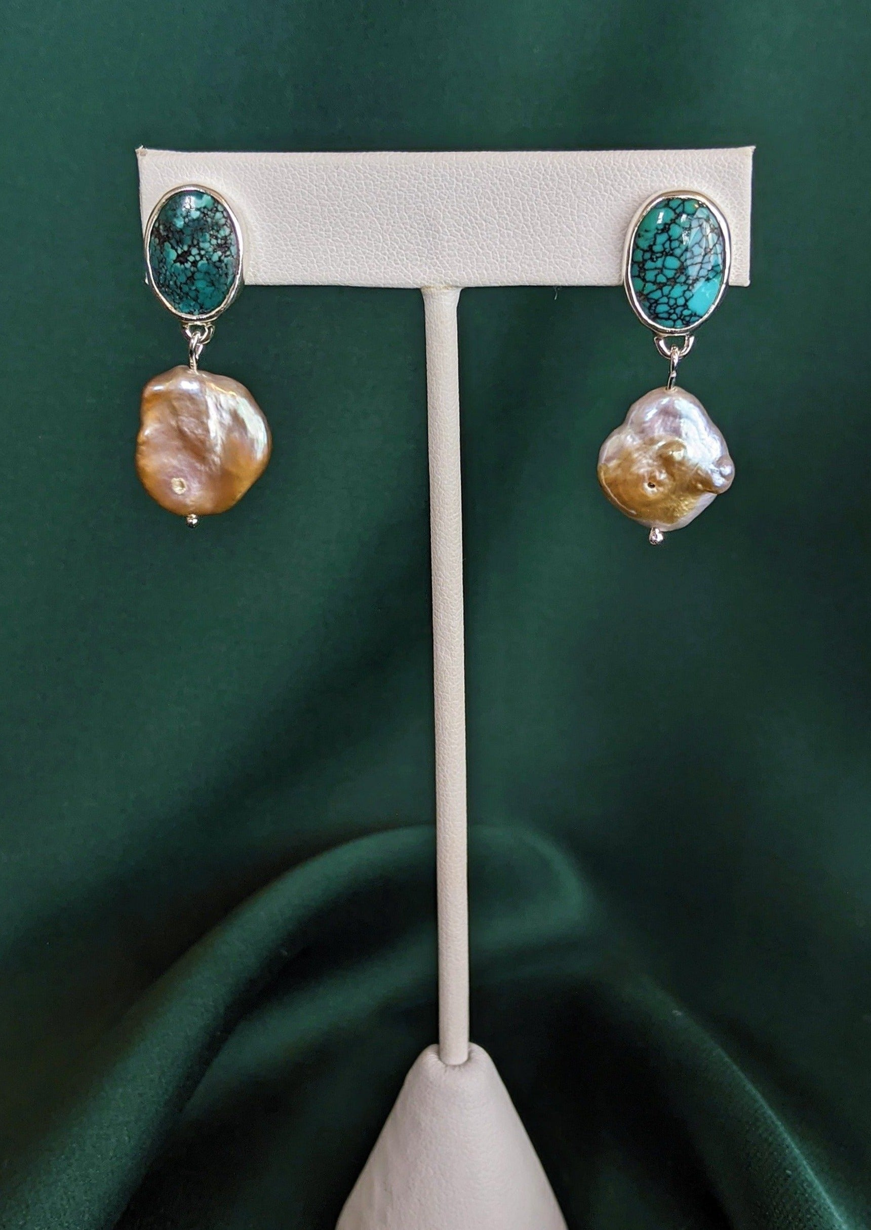 Turquoise and Pearl Silver Drop Earrings 1