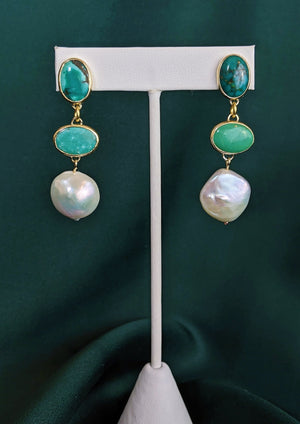Turquoise and Pearl Brass Drop Earrings 6