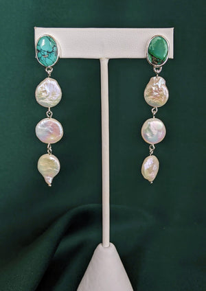 Turquoise and Pearl Silver Drop Earrings 4
