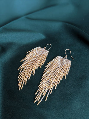 Golden Raindrop Beaded Earrings 1