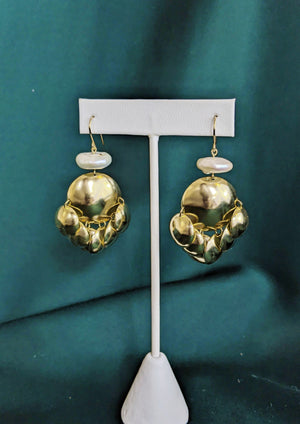 Ornament Earrings Brass and Pearl 1