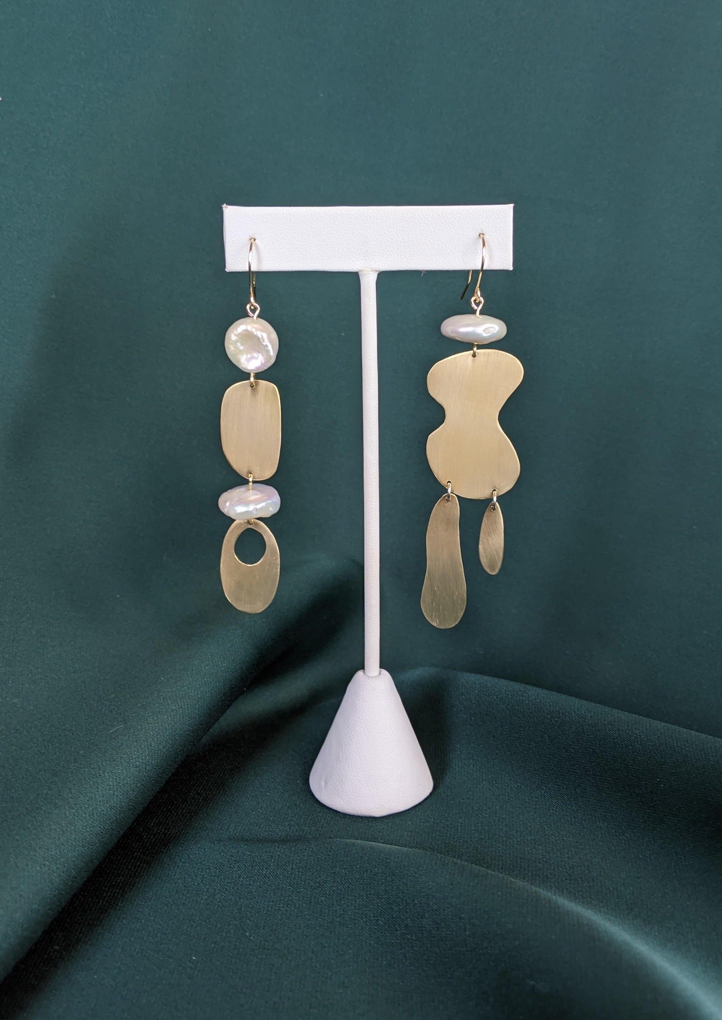 Abstract Shape Earrings Brass and Pearl 5