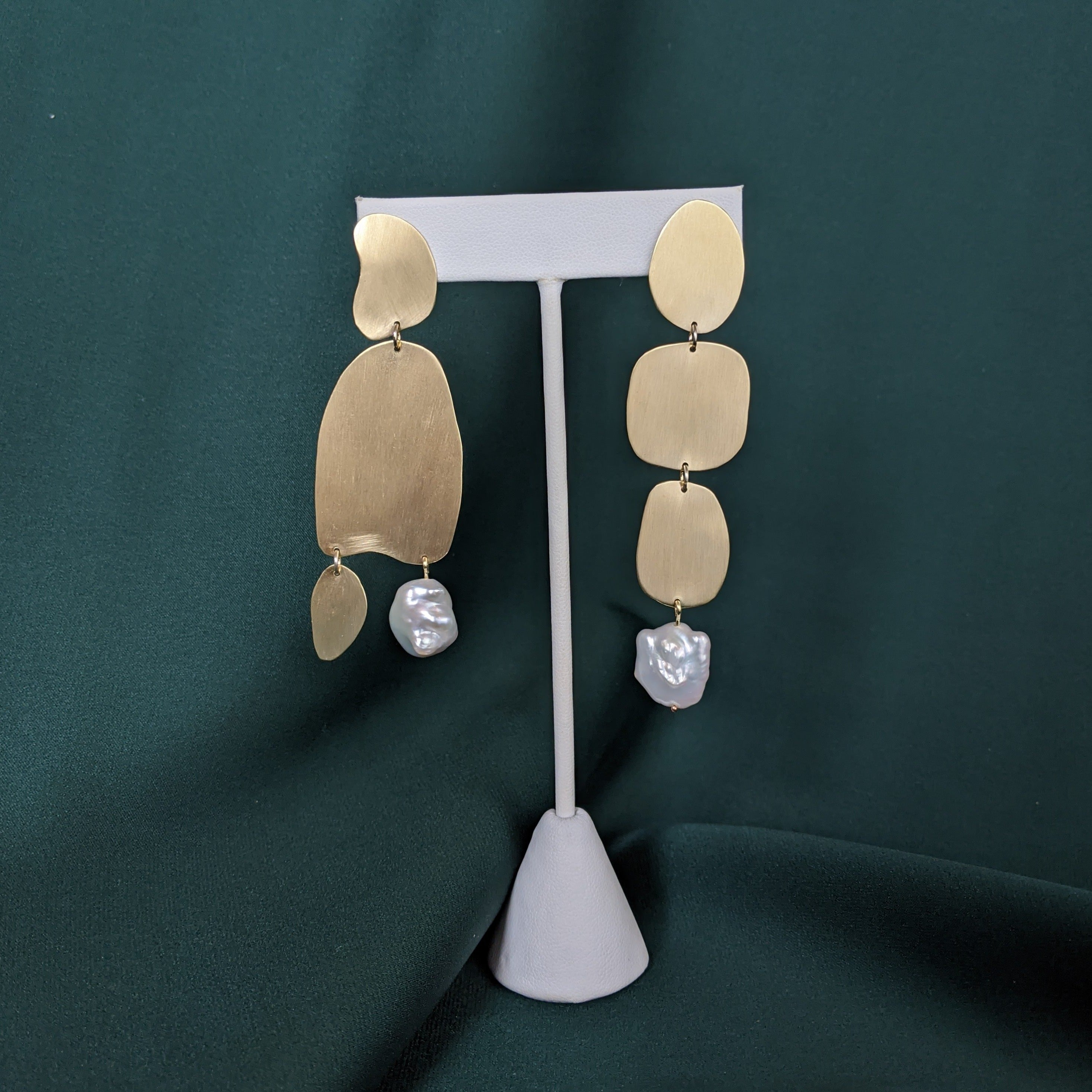 Abstract Shape Earrings Brass and Pearl 2