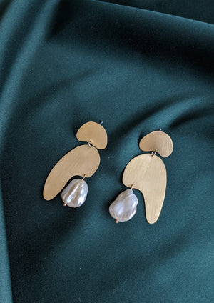 Abstract Shape Earrings Brass and Pearl 1