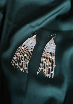Pearly Raindrop Beaded Earrings