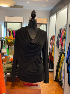 Joseph Ribkoff  Drape Collar Top.  Black.  -  Sizes:  10  12  14  16
