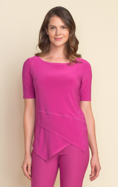 Joseph Ribkoff Elbow Sleeve Panelled Top.  Hot Pink.  Sizes:  8 10 12 14 16 18