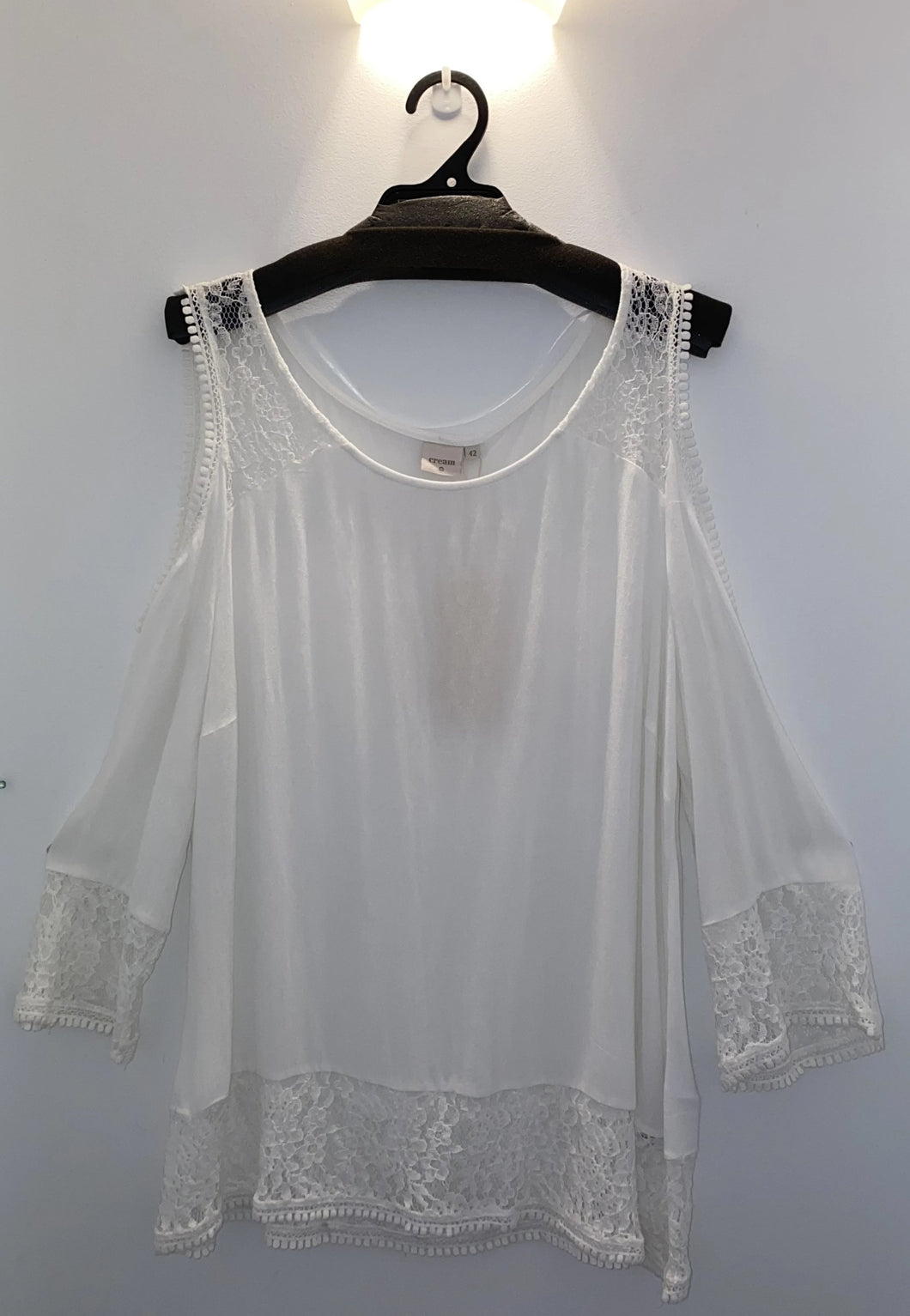 SALE Cream White Cold Shoulder Top - Sizes 14, 16.