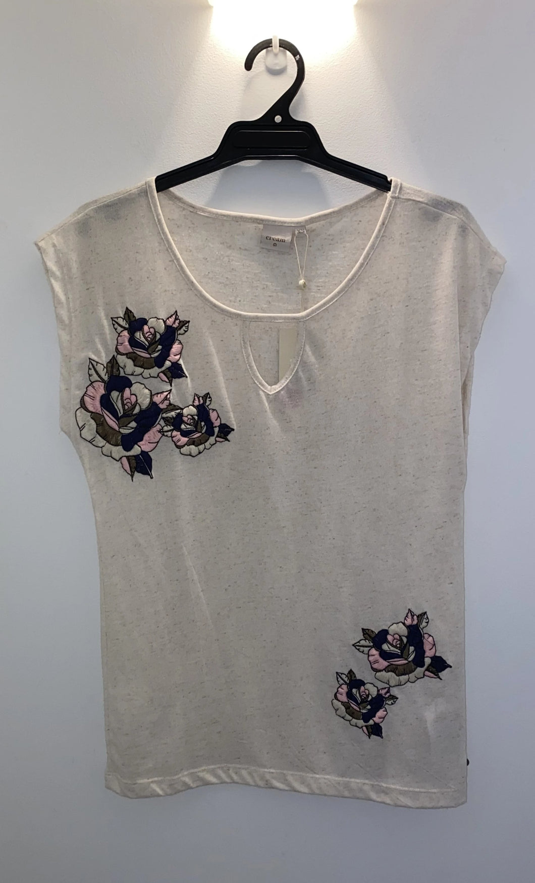 SALE Cream Embroidered Tee - Sizes:  L  XL
