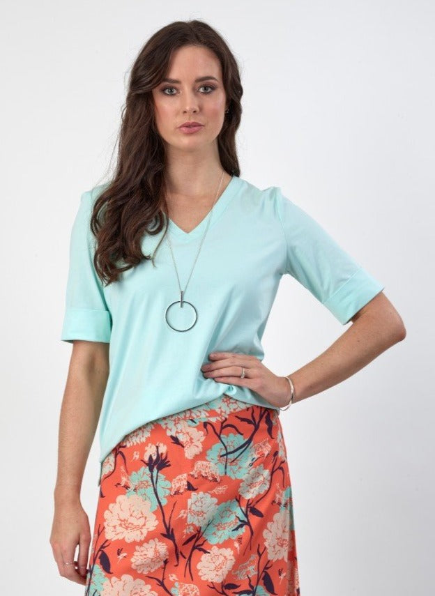 Vassalli Mint V Neck Tee - Sizes: 8, 10, 12, 14, 16, 18.