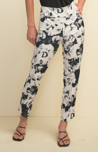 Joseph Ribkoff Black & White Rose Print Pant -  Sizes:  10 12 16 18.