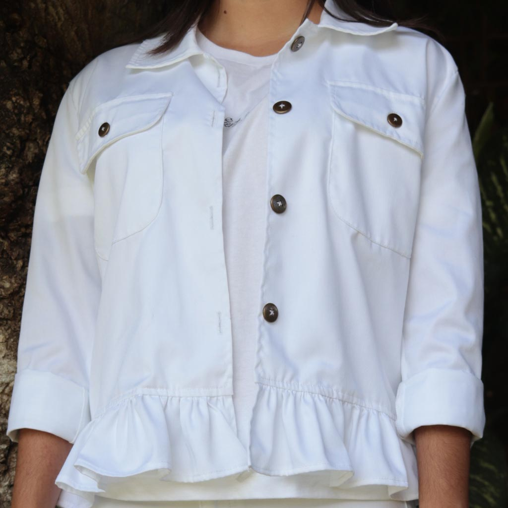 One-of-a-Kind Drill White Faralao Jacket