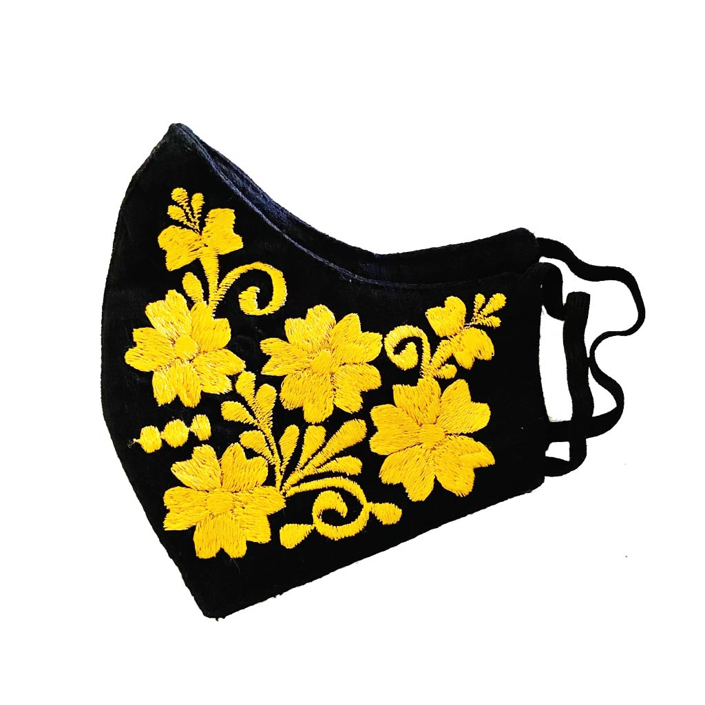 Embroidered Masks black and yellow