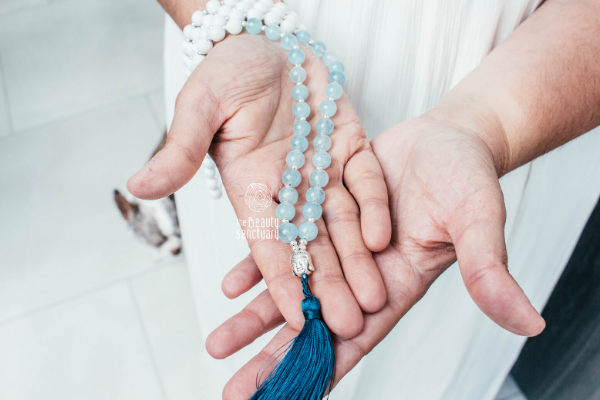 Iris: aquamarine mala necklace