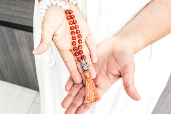 Mama Quilla: cornaline and moonstone mala necklace