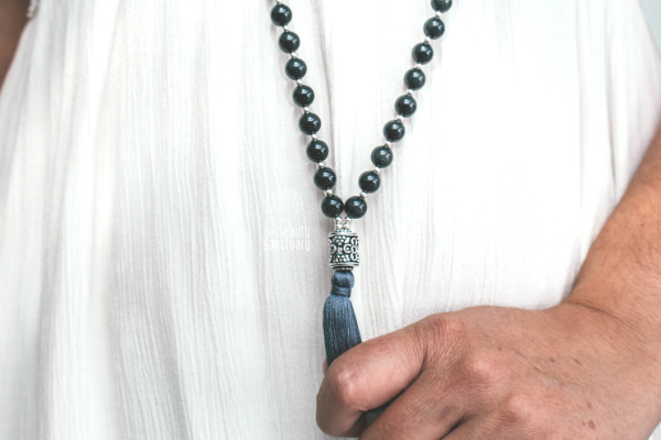 Revelare: obsidian celestial eye meditation mala necklace