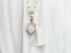 Selene selenite and agate stone mala necklace