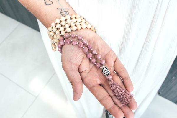 Epione rhodonite mala necklace