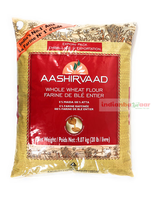 Aashirvaad Atta 20 lb (Whole Wheat) - Indian Bazaar - Online Indian Grocery Store