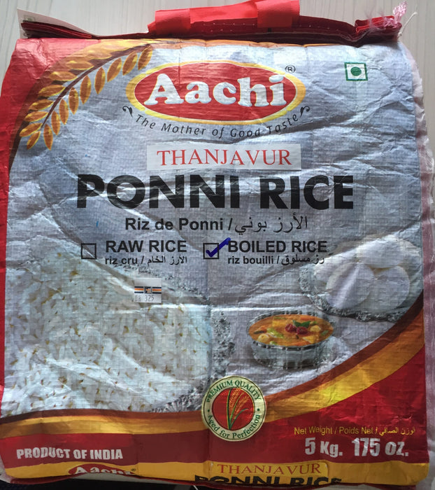 Aachi Ponni Boiled Rice 5Kg - Indian Bazaar - Online Indian Grocery Store