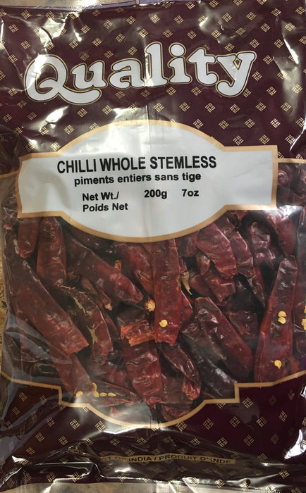 Quality Red Chilli Whole Stemless 200g - Indian Bazaar - Online Indian Grocery Store