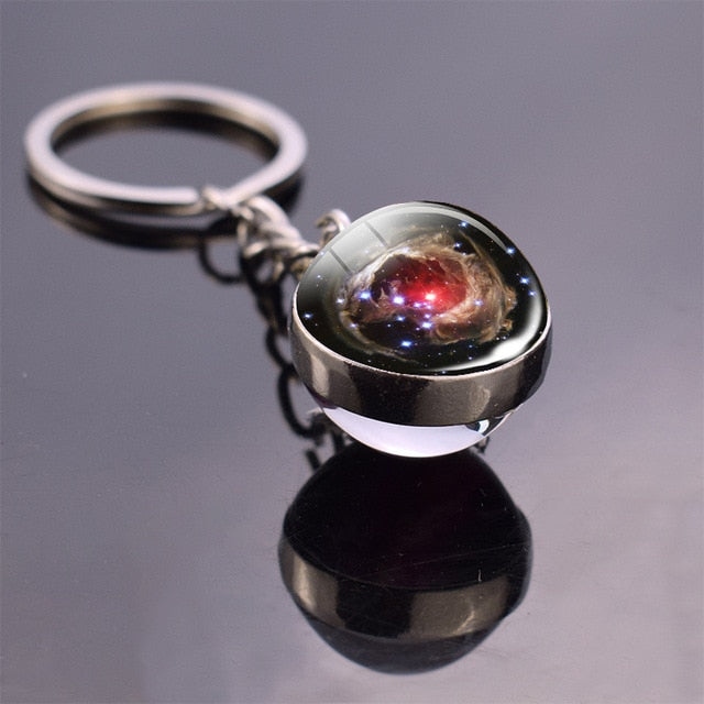 Solar System Planet Keyring Galaxy Nebula Space Keychain Moon Earth Sun Mars Art Picture Double Side Glass Ball Key Chain - Indian Bazaar - Online Indian Grocery Store