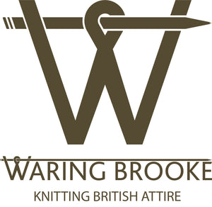 Waring Brooke Logo, Knitting British Attire