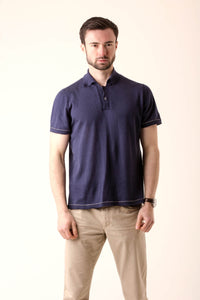 Fine knit soft cotton knitted polo shirt by Waring Brooke