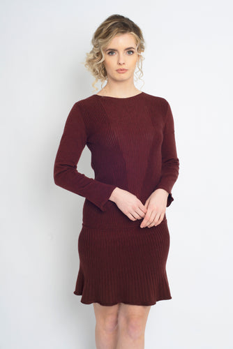 Fit and Flare Dress Burgundy