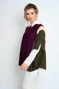 Draped Stripe Poncho