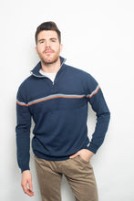 Load image into Gallery viewer, Polo Zip-Up Stripe Jumper