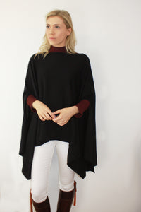 Draped Fine Knit Poncho
