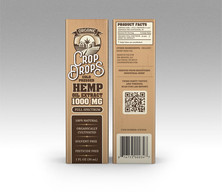 1000mg Organic Cold Pressed Hemp Oil Extract Tincture (CASE)