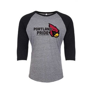 Portland Pride Athletic Grey and Black Unisex Baseball Tee