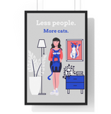 Less People, More Cats Wall Art - Black Hair Girl - Boujeecat