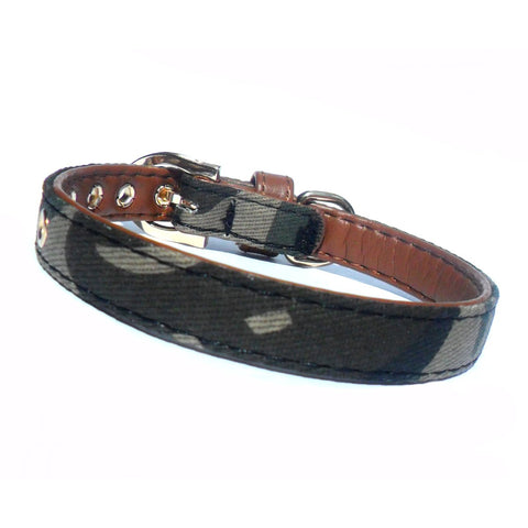 Army & Brown Faux Leather Collar - Boujeecat