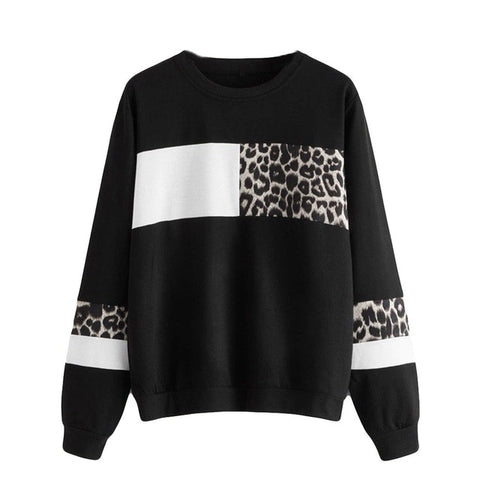 Women's Color Block Leopard Crewneck - Boujeecat