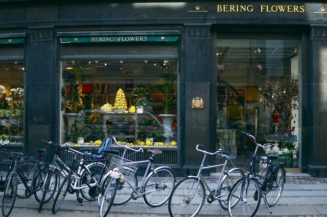 Denmark local florist picture, typical flower shop in Copenhagen