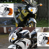 7500K - 8000K 2400LM DC 12V - 80V Double Angel Eye Light High-Low Beam Motorcycle Led Projector Lens Headlight