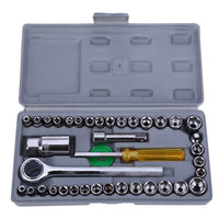 40pcs Automobile Motorcycle Repair Tool Case Precision Socket Wrench Sleeve Screwdriver Hardware Kit