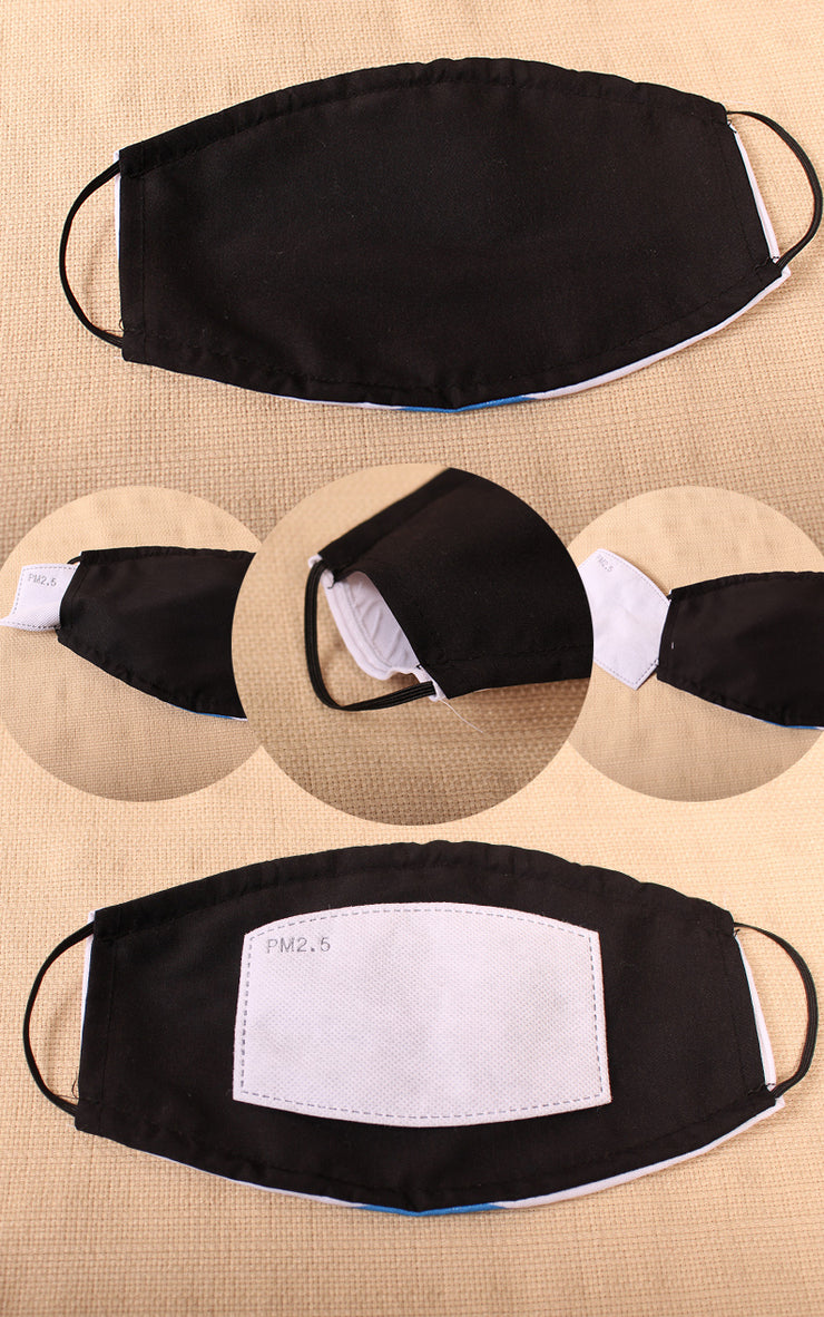 Panda Smile 2 Layer Face Mask with Filter Pocket Washable, Reusable, Breathable. Free Filter Free Sticker.