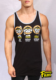 3 Wise Monkeys Unisex Tank Top - Black