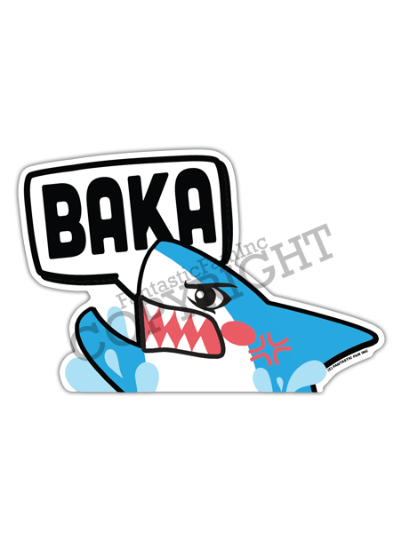 BAKA! Shark Peeking Vinyl Sticker