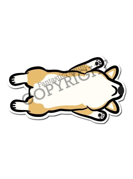 Defeated Corgi Belly Vinyl Sticker