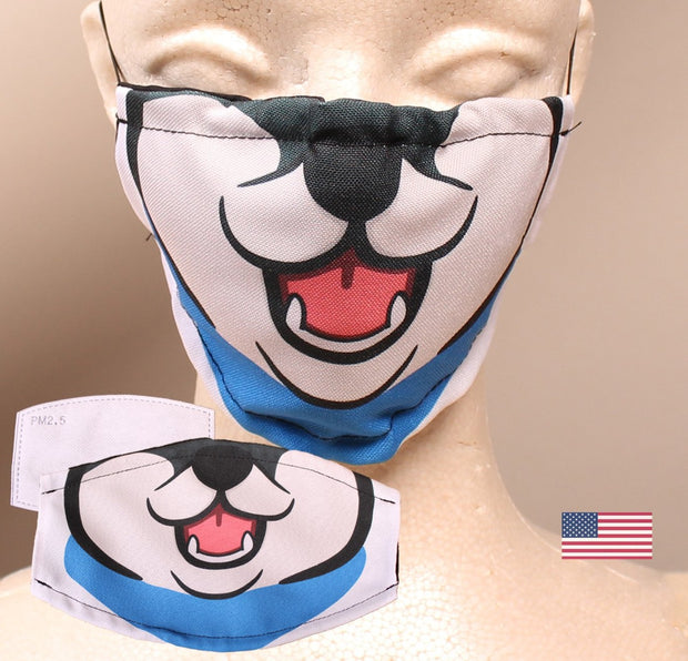 Black Shiba Inu -  2 Layer Face Mask with Filter Pocket Washable, Reusable, Breathable - Free Filter Free Sticker