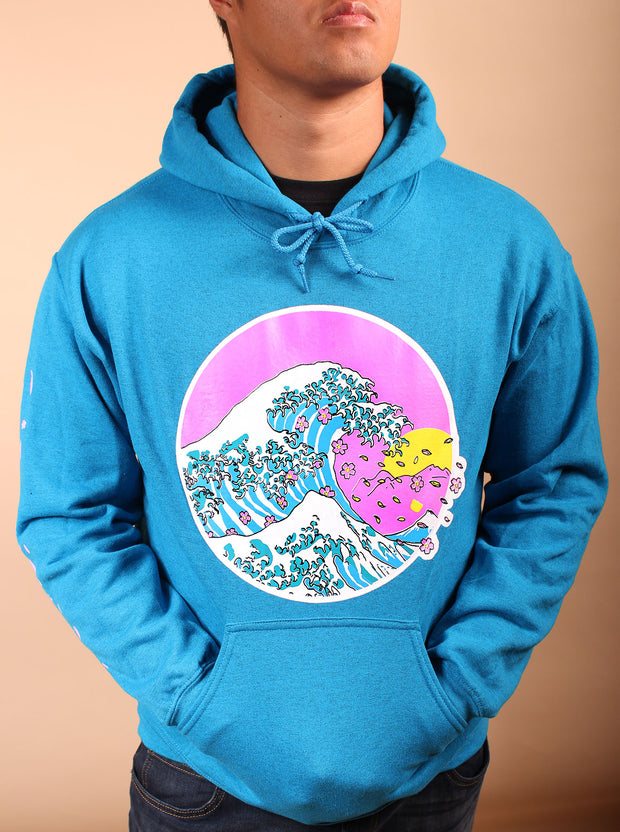 Cherry Blossom Wave Unisex Hoodie - Teal