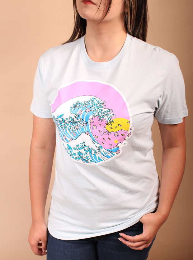Cherry Blossom Unisex Tshirt - Light Blue