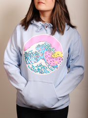Cherry Blossom Wave Unisex Hoodie - Blue