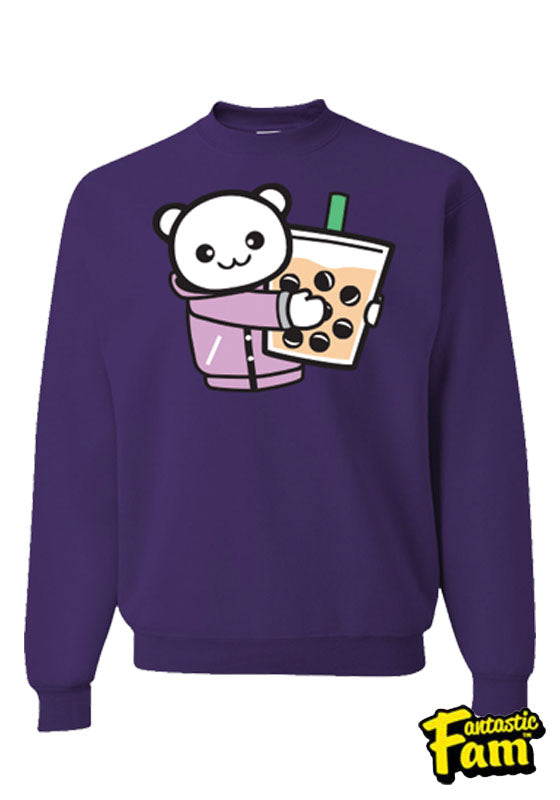 Boba Hug Unisex Crewneck Sweater - Purple